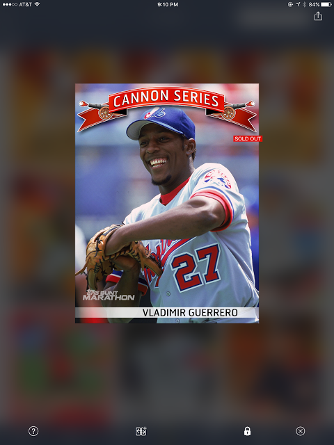 A screenshot from the iOS Topps Bunt app, of a digital trading card of baseball player Vladimir Guerrero, Sr., from the Cannon Series subset.