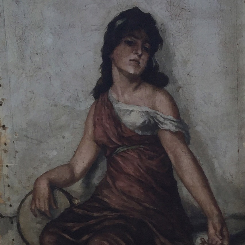 A painting of a woman lounging against a wall, right hand resting on a pan, with white skin and black hair, in a burgundy Greco-Romanesque overdress pulled down on the left side to reveal a white shift, hanging off the woman's shoulder. A white rope belt is around the woman's waist. The woman appears to look at the viewer with equal parts exhaustion and contempt.