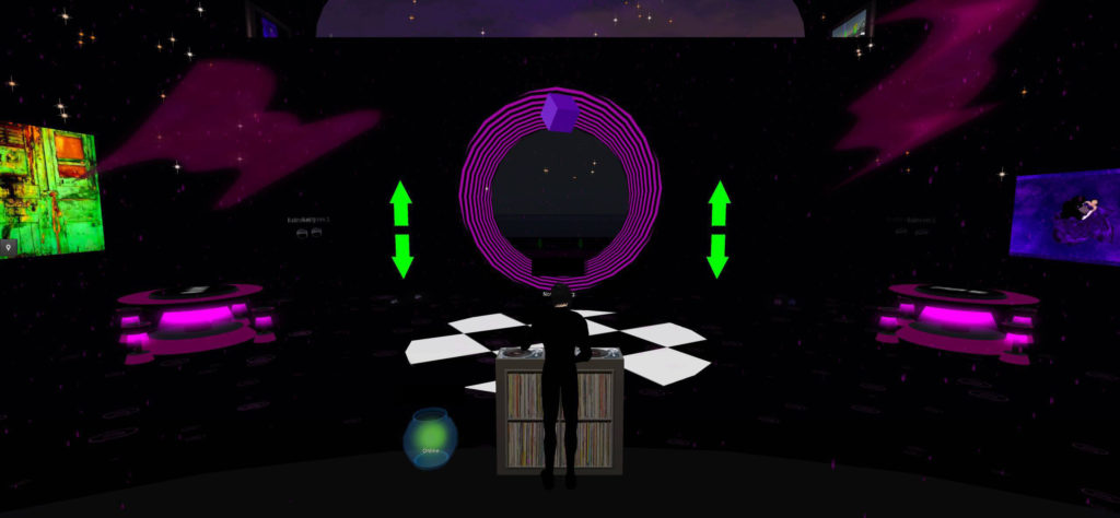Interior screenshot of Second Life nightclub Heck. A human with white skin and black hair, in black clothing (front and center), is seen at a DJ booth from behind. The building has black walls, accented by purple furnishings and green arrows that function as the club's teleport buttons. Photographs hang on the left and right hand wall. A tip jar sits on the stage to the left of the DJ booth.
