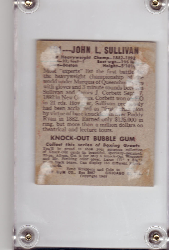 Image description: the back of a 1948 Leaf Boxing John L. Sullivan trading card. Some paper is stuck to the card, as it was glued into an album and removed from it. Text on back of card is transcribed in image caption.