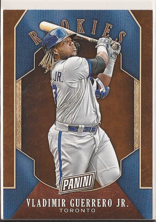 A 2019 Panini Rookies baseball card of Vladimir Guerrero, Jr..