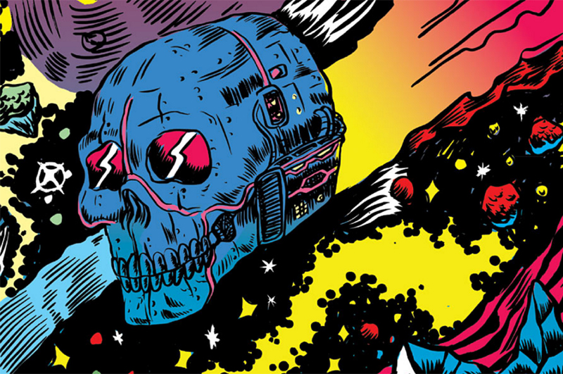 The Skullship Santa Muerte (blue and pink spaceship, shaped like a skull), from the comic book Space Riders, flies through a psychedelic space scene. Art by Alexis Ziritt.